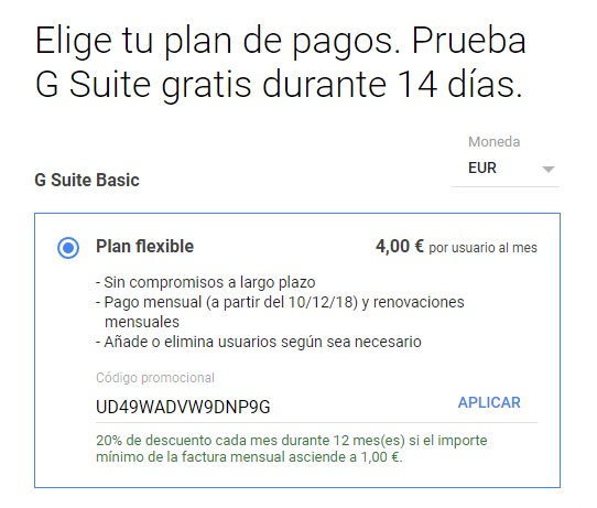 gG suite promo code 20% coupon discount offer Gsuite